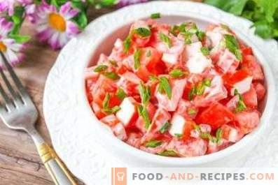 Салати с раци и домати