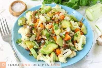 Салати с пържени гъби