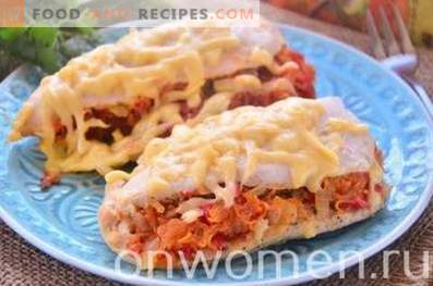 Chicken fillet baked with vegetables in the oven