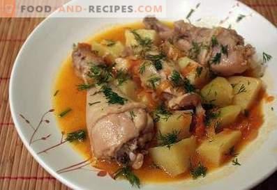 Пилешки пръчици, задушени с картофи