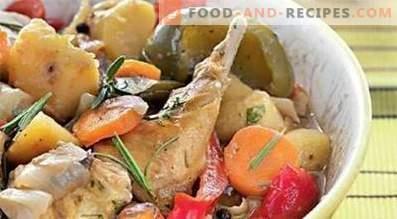 Заек, задушен със зеленчуци в бавен котлон