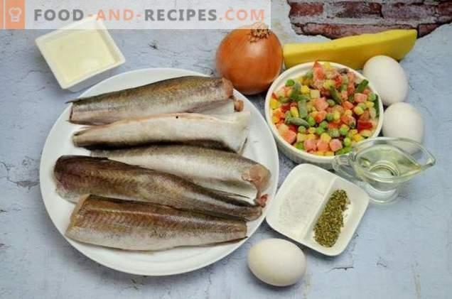 Рибен задочник с зеленчуци и сирене сос