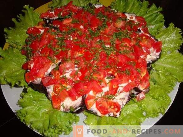 Салата с патладжани, домати и гъби