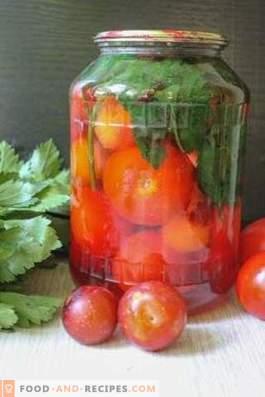 Мариновани домати с черешова слива за зимата
