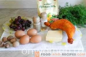Салата Тифани с пиле и грозде