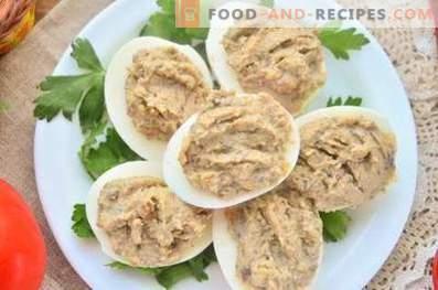 Яйца, пълнени с гъби