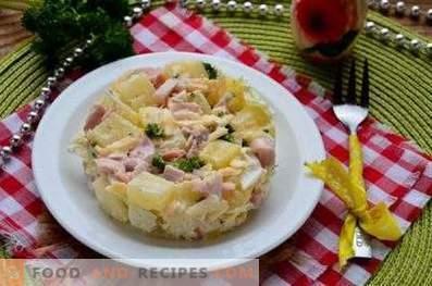 Салати с ананас и пушено пиле