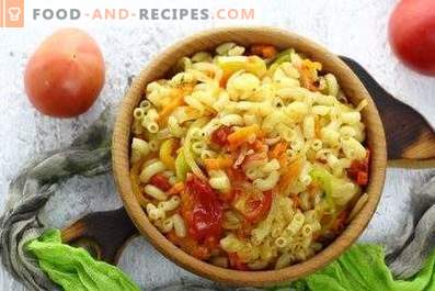 Паста със зеленчуци в тиган
