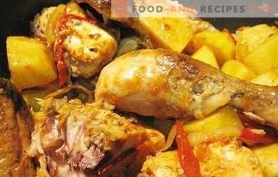 Запечено пиле с картофи в бавен котлон