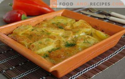 Картофените кремове са просто, но вкусна гарнитура. Най-добрите рецепти на картофи със сметана и шунка, гъби, сирене