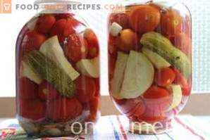 Assorted for the winter of cucumbers and tomatoes and peppers and zucchini