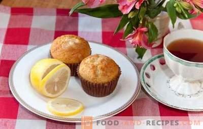 Lemon muffins - съблазнителен аромат! Рецепти за деликатни лимонови кифли с пълнеж от крема, целувка и глазура